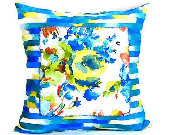 turquoise blue throw pillow cover 20x20 colorful floral. Black Bedroom Furniture Sets. Home Design Ideas