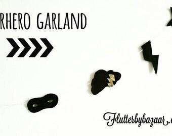 Superhero garland, superhero banner, comic book decor, monochrome nursery decorations, scandinavian nursery, monochrome garland