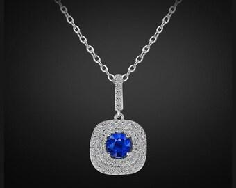 Swarovski bridal necklace, Sapphire bridal necklace