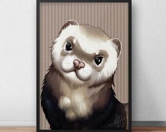 Ferret Portrait A3 print