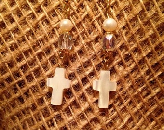 Mother of pearl, fresh water pearl and crystal drop earrings