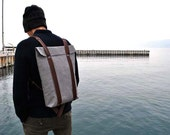 Waterproof hipster backpack, canvas rucksack, grey backpack, Big knapsack for men and women, daybag, Rucksack 301