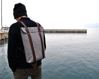 Waterproof hipster rucksack, canvas and leather backpack, Big knapsack for men and women, custom rucksack 301