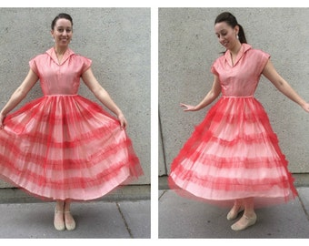 1950's Rockabilly Red Tulle Party Dress Small 38-26-full