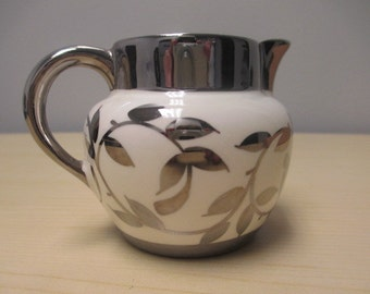 1950s Silver Lusterware Creamer or Small Pitcher Hand Painted and Made in England, Lusterware Cream Pitcher, Myott Son & Co., Ltd.