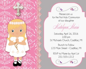 Praying Girl First Communion Invitation - 1st Communion Invitation by FabPartyPrints