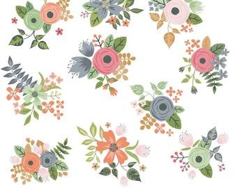 Flower Clipart, Rose Clipart, Flower Clip Art, Rose Clip Art, Digital Flowers, Digital Roses