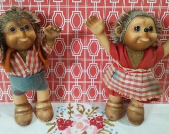 Vintage Small size Mecki Steiff Hedgehog Dolls Set of 2