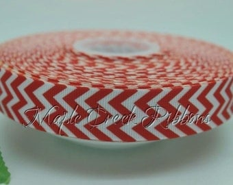 "7/8"" Red Chevron Print Grosgrain Ribbon 7/8"" x 1 yard"