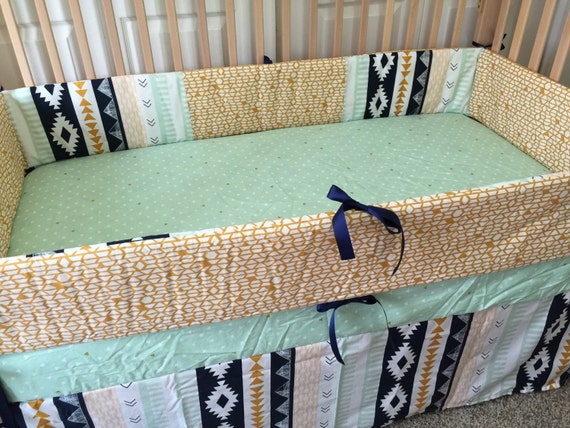 Mint And Gold Aztec Crib Bedding navy and by