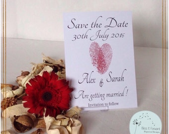 Love Heart Thumb Print - Save the Date (pack of 20)