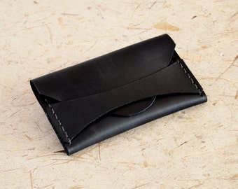 Highway 9 - Black Leather, Business Card Case, Credit Card Case, Minimalist Wallet
