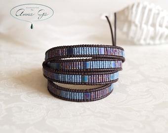 Wrap bracelet, Wrap leather bracelet, Chan Luu bracelet, Chan Luu style, Beaded bracelet, Boho bracelet, Rose quartz, Cord bracelet