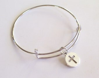 Silver Cross Bangle Bracelet, Silver Cross Bracelet, Silver Bangle Bracelet, Cross Charm Bracelet, Layering Bracelet, Gift for Her