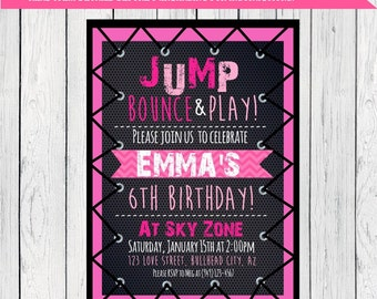 Trampoline Party: Personalized birthday invitation-***Digital File*** (Tramp-pink13)