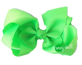 Neon Green Bow- 6 inch Neon Bow Clip- Boutique Bow, READY TO SHIP