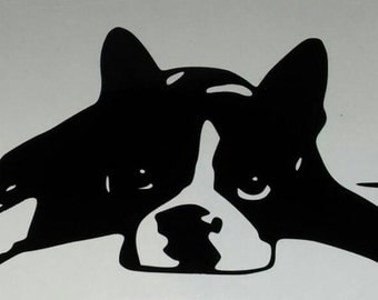 Boston Terrier heart beat window decal available in any color. No background