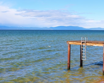 Docks of Lakeside Beach, Ladder, Mountains, Clear Water, Pier, Lakeside Beach, Lake Tahoe, California