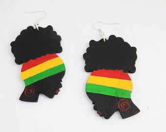 Afro Puff Earrings Natural Hair Earrings Afrocentric Jewelry Ethnic African Jewelry Handmade Rasta Ladies Wood Earrings Gift Ideas Unique