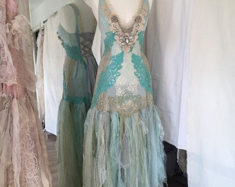 RESERVED !!!!!!Wedding dress turqoise fairy, lace wedding dress ,shabby chic wedding dress ,statement dress , beach wedding dress,colorful w