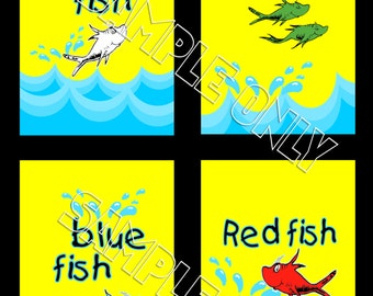 Dr Seuss One Fish Two Fish Bathroom Red Fish Blue Fish Wall Art Prints