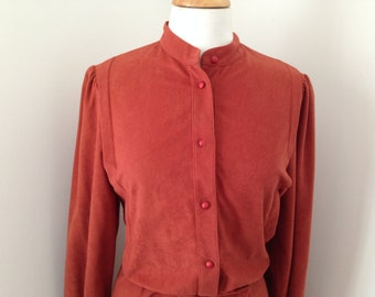 70's Rust button down long sleeved dress, size 14, Us size 10