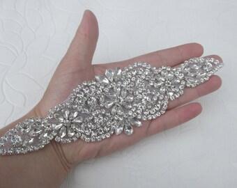 Crystal applique, rhinestone applique, wedding applique, beaded crystal patch, DIY wedding sash, headband, headpiece