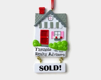 Realtor Personalized Ornament - Real Estate - Sold House - Hand Personalized Christmas Ornament