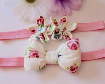Flower Headband, Bow Headband, Pink Headband, Baby Bow Headband, Baby Headband, Baby Flower Headband, Girls Headband, Floral Headband