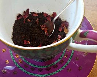 Vanilla Sunrise Tea. Organic Tea. Black Tea. Vanilla Bean. Rose Petals. Sunrise in a cup.