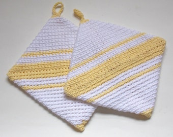 Two Thick Pot Holders, Double Thick Hot Pads, Yellow and White Pot Holder