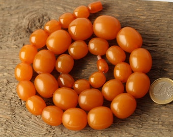 Vintage Heated Baltic Amber Beads Necklace 90.60 gr. 琥珀項鍊