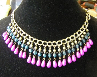 """TEAL & PLUM beaded necklace 18"""" antique gold tone chain"""