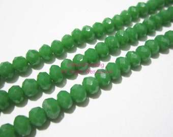 4x3mm Green oval faceted crystal beads faceted glass beads BKCB09 - 19inch
