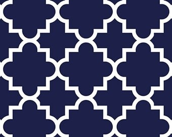 Blue Quatrefoil in Knit, Pure Vintage BOLT Collection, Made in USA, Cotton Jersey Knit Fabric  Sold by the Yard 5618