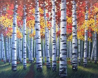Birch Trees Painting, Birch Trees Art, Painting of Birch Trees, Painting of Aspen Trees, Aspen Trees Painting, Autumn Birch Painting,Autumn