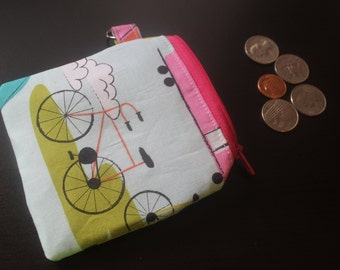 Blue bike/camper zippered coin pouch/change purse