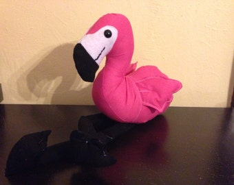 Made to order Solid pink and black stuffed flamingo plushie