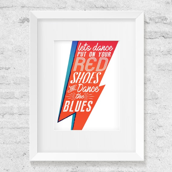 Let's Dance by David Bowie, Song Lyric Illustration - ArtPrint