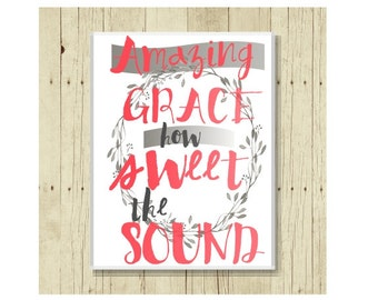 Amazing Grace Magnet, Christian Magent, Refrigerator Magnet, Pretty Magnet, Gifts Under 10, Small Gift, Wreath Art, Hymn Art