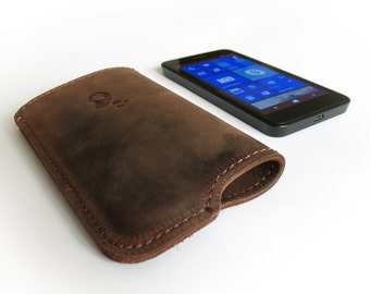 Distressed Crazy Horse Genuine Cow Leather Case for Nokia Lumia, Samsung Galaxy, Huawei Ascend, LG Series Smart Phones
