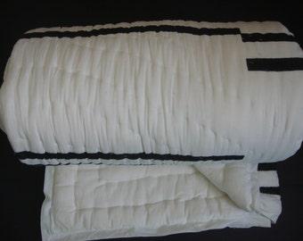 100% Handmade Cotton Queen Quilt - BlackStripes