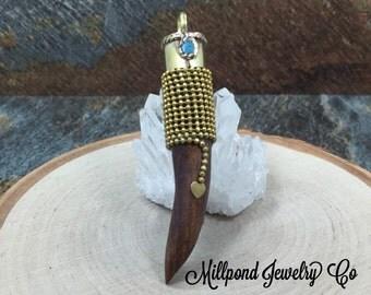 Tibetan Horn, Tibetan Brass Horn Pendant, Synthetic Wood Horn Pendant, Tusk Pendant, Bohemian Tusk Pendant, Medium Size, Brown, PG2811