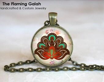 ORIENTAL FLOWER Pendant • Spiritual Flower • Mandala Flower • Buddhist Flower • Boho Flower • Gift Under 20 • Made in Australia (P0349)