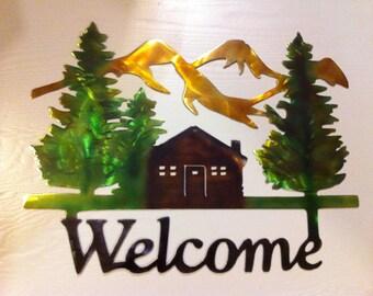 Welcome Cabin Metal Wall Art