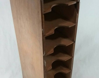 Vintage wood mail organizer office cubby storage