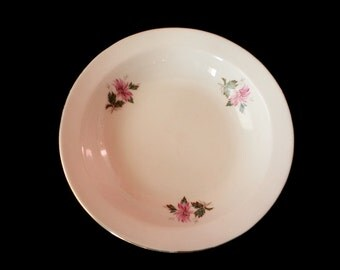 Vintage Bulgarian Porcelain Plate, White porcelain plate, decorated with flowers, Old Plate, Rustic Kitchen, Porcelain Plate