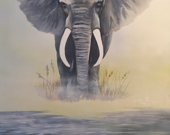 Strong Elephant Modern Acrylic Painting on Canvas
