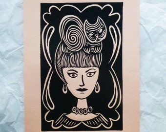Cat Art Print - The Cat Lady Limited Edition Linocut - MidCentury Modern Atomic Beehive Hair 60's Mod Black on Peach, Cream, Beige Art Paper