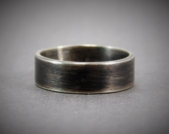 Free Engraving Mens 8 mm Wide Oxidized Sterling Silver Wedding Band Ring  / promise ring